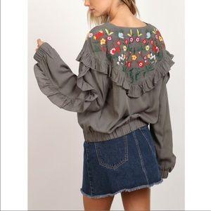 Boho Floral Embroidered Ruffle Sleeve Zip Jacket